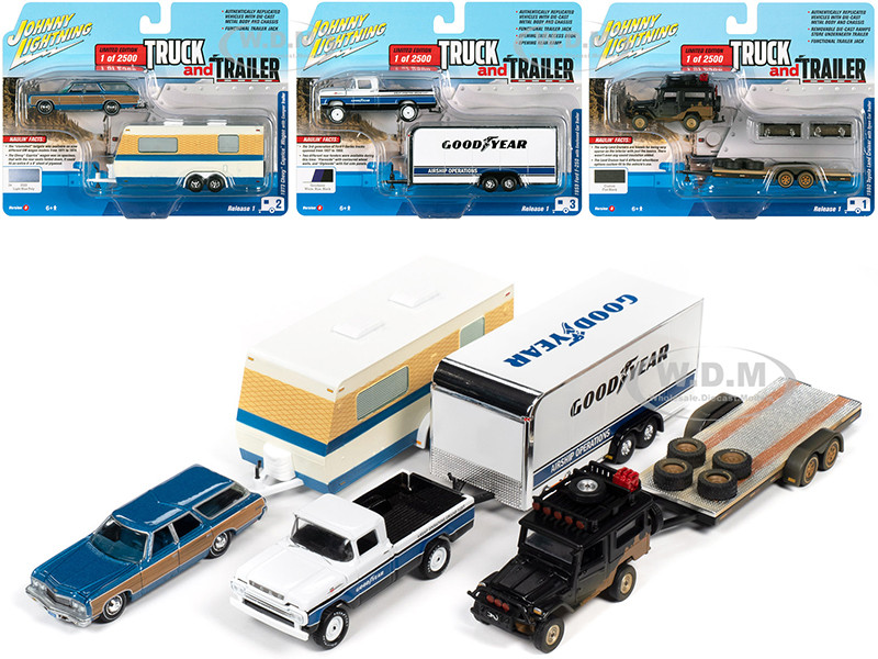 Truck and Trailer Set B of 3 Cars Release 1 2020 Limited Edition 2500 pieces Worldwide 1/64 Diecast Model Cars Johnny Lightning JLBT013 B
