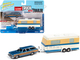 1973 Chevrolet Caprice Wagon Blue Metallic Wood Paneling Camper Trailer Limited Edition 2500 pieces Worldwide Truck and Trailer Series 1 1/64 Diecast Model Car Johnny Lightning JLBT013 B