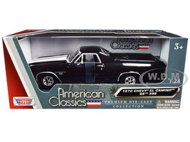 1970 Chevrolet El Camino SS 396 Black White Stripes American Classics 1/24 Diecast Model Car Motormax 79347