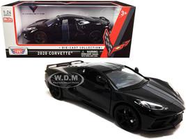 2020 Chevrolet Corvette C8 Stingray Black Gray Stripes 1/24 Diecast Model Car Motormax 79360