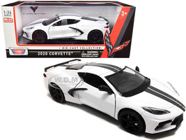 2020 Chevrolet Corvette C8 Stingray White Gray Stripes 1/24 Diecast Model Car Motormax 79360