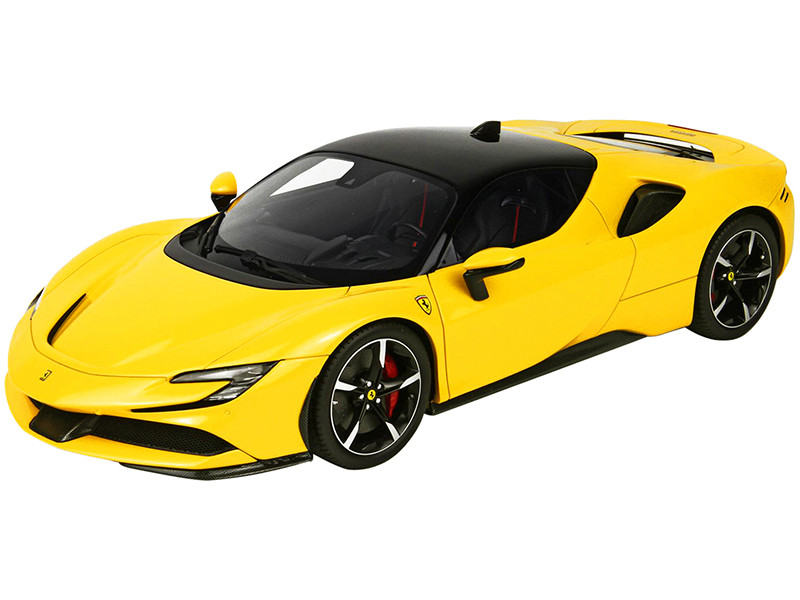 2019 Ferrari SF90 Stradale Giallo Modena Yellow Black Top DISPLAY CASE Limited Edition 149 pieces Worldwide 1/18 Model Car BBR P18180B