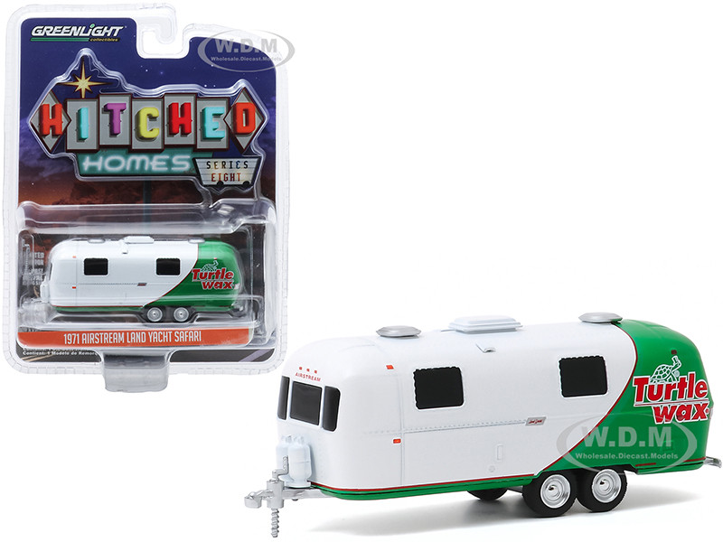 1971 Airstream Double-Axle Land Yacht Safari Travel Trailer Turtle Wax White Green Hitched Homes Series 8 1/64 Diecast Model Greenlight 34080 C