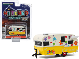 1962 Shasta Airflyte Travel Trailer Peace and Love Yellow Cream Hitched Homes Series 8 1/64 Diecast Model Greenlight 34080 F