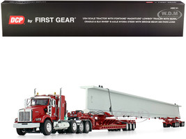 """Kenworth T800 38"""" Sleeper Cab Fontaine Magnitude Lowboy Trailer Bunk Cradle Elk River 6-Axle Hydra Steer Trailer Bridge Beam Section Load Red Red 1/64 Diecast Model DCP First Gear 60-0741"""