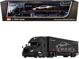 2018 Freightliner Cascadia High-Roof Sleeper Cab 52' Wabash DuraPlate Trailer Skirts C8 Corvette Black 1/64 Diecast Model DCP First Gear 60-0755