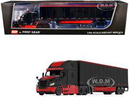 2018 Freightliner Cascadia High-Roof Sleeper Cab 52' Wabash DuraPlate Trailer Skirts Black Red 1/64 Diecast Model DCP First Gear 60-0756