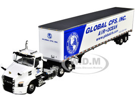 Mack Anthem Day Cab 53' Dry Goods Trailer Global CFS Inc White Blue 1/64 Diecast Model DCP First Gear 60-0821
