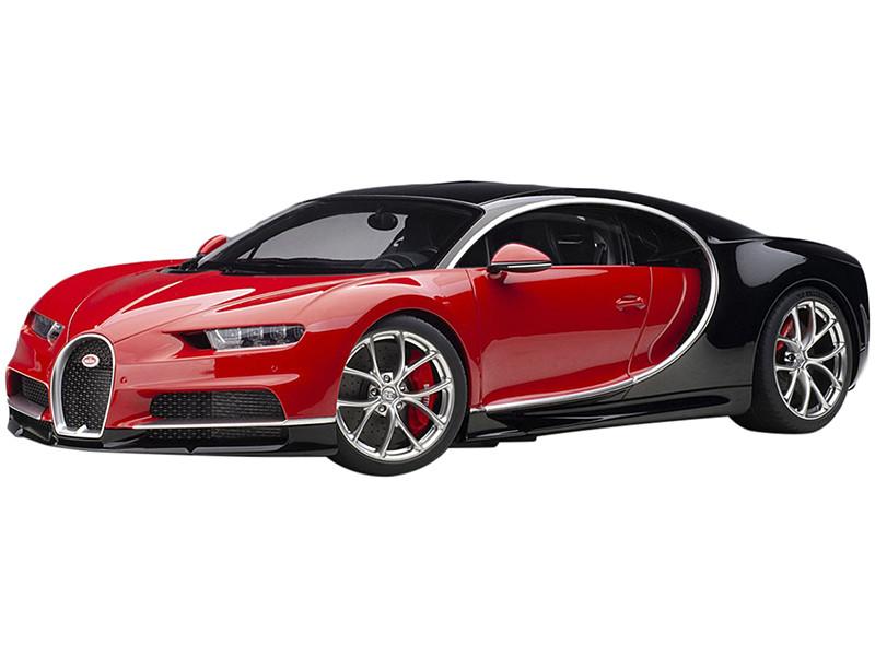 Bugatti Chiron Italian Red Nocturne Black 1/12 Model Car Autoart 12113