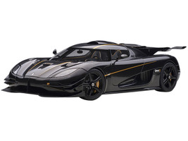 Koenigsegg One: 1 Clear Carbon Fiber Gold Stripes 1/18 Model Car Autoart 79019