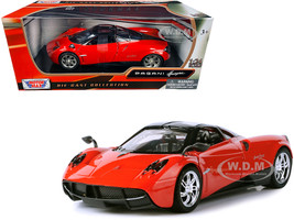 Pagani Huayra Bright Red Chrome Wheels 1/24 Diecast Model Car Motormax 79312