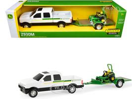Pickup Truck White Flatbed Trailer John Deere Zero-Turn Mower Set of 3 pieces 1/32 Diecast Models ERTL TOMY 45520