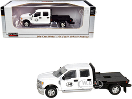 Ford F-250 Flatbed Truck J&M White 1/64 Diecast Model Car SpecCast JMM101