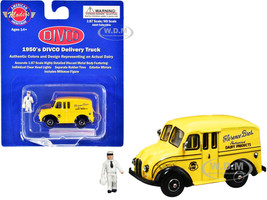 1950's Divco Delivery Truck Yellow Florence Bros. Dairy Products Milkman Figurine Carrier 1/87 HO Scale Diecast Model American Heritage Models AHM87-004