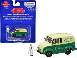 1950's Divco Delivery Truck Green Yellow Parmelee Bros. Dairy Products Milkman Figurine Carrier 1/87 HO Scale Diecast Model American Heritage Models AHM87-005