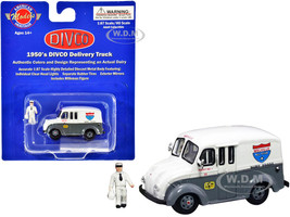 1950's Divco Delivery Truck Gray White Melville Dairy Foods Milkman Figurine Carrier 1/87 HO Scale Diecast Model American Heritage Models AHM87-006
