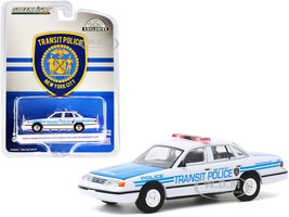1994 Ford Crown Victoria Police Interceptor New York City Transit Police Ceremonial Unit White Blue Hobby Exclusive 1/64 Diecast Model Car Greenlight 30160