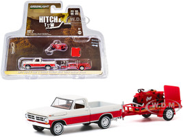 1972 Ford F-100 Pickup Truck Cream Red Utility Trailer 1920 Indian Scout Motorcycle Red Hitch & Tow Series 20 1/64 Diecast Model Car Greenlight 32200 A