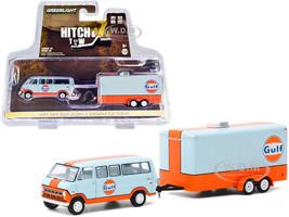 1972 Ford Club Wagon Van Enclosed Car Trailer Light Blue Orange Gulf Oil Hitch & Tow Series 20 1/64 Diecast Model Greenlight 32200 B