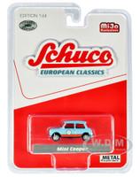 Mini Cooper Light Blue Orange Stripes European Classics Limited Edition 2400 pieces Worldwide 1/64 Diecast Model Car Schuco 4200