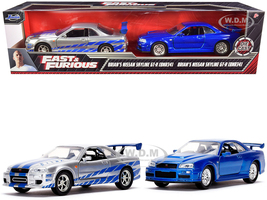 Brian's Nissan Skyline GT-R BNR34 Silver Blue Stripes Nissan GT-R BNR34 Blue Metallic Set of 2 pieces Fast & Furious Series 1/32 Diecast Model Cars Jada 31980