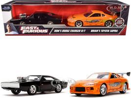 Dom's Dodge Charger R/T Black Brian's Toyota Supra Orange Set of 2 pieces Fast & Furious Series 1/32 Diecast Model Cars Jada 31981