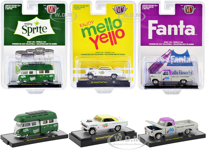 3 Sodas Set of 3 pieces Limited Edition 5000 pieces Worldwide 1/64 Diecast Model Cars M2 Machines 52500-A03