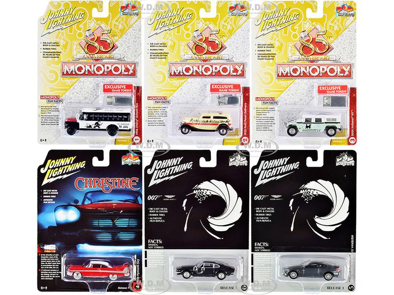 Pop Culture 2020 Set of 6 Cars Release 1 1/64 Diecast Model Cars Johnny Lightning JLPC001