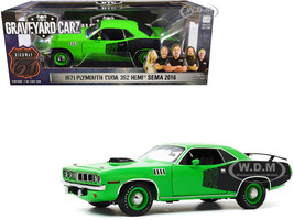 1971 Plymouth Barracuda Bright Green Black Custom Crate 392 HEMI Engine 2016 SEMA Show Unveil Graveyard Carz 2012 TV Series 1/18 Diecast Model Car Highway 61 18017