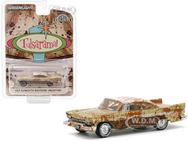 1957 Plymouth Belvedere Unearthed Desert Gold Sand Dune White Top Tulsa Oklahoma Tulsarama Underground Vault 2007 Hobby Exclusive 1/64 Diecast Model Car Greenlight 30158