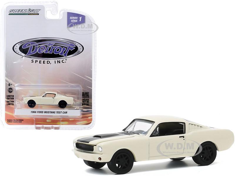1966 Ford Mustang Fastback Test Car Cream Black Stripe Detroit Speed Inc Series 1 1/64 Diecast Model Car Greenlight 39040 A