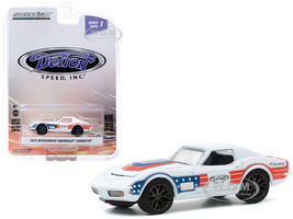 1972 Chevrolet Corvette BFGoodrich White Red Blue Stripes Detroit Speed Inc Series 1 1/64 Diecast Model Car Greenlight 39040 F