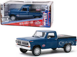 1970 Ford F-100 Pickup Truck Bed Cover Dark Blue STP Running on Empty Series 4 1/24 Diecast Model Car Greenlight 85053