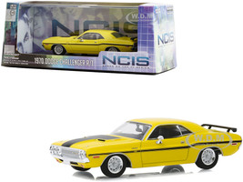 1970 Dodge Challenger R/T Yellow Black Stripes NCIS 2003 TV Series 1/43 Diecast Model Car Greenlight 86579