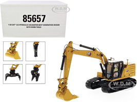 Cat Caterpillar 323 Hydraulic Excavator Next Generation Design Operator 4 Work Tools High Line Series 1/50 Diecast Model Diecast Masters 85657