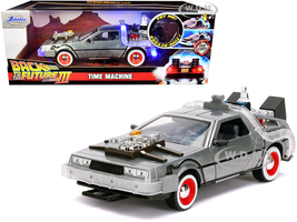 DeLorean Brushed Metal Time Machine Lights Back to the Future Part III 1990 Movie Hollywood Rides Series 1/24 Diecast Model Car Jada 32166