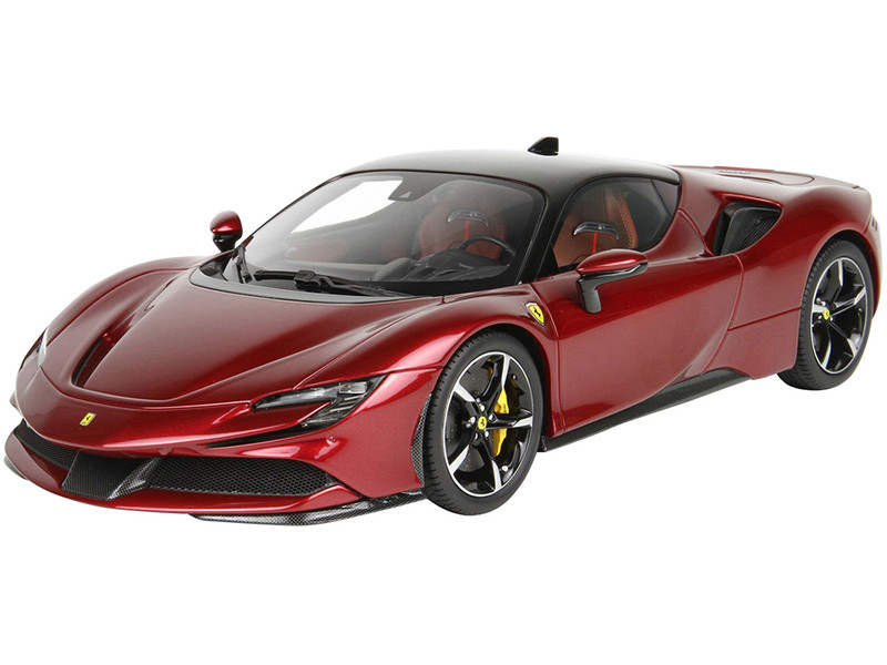 2019 Ferrari SF90 Stradale Rosso Fiorano Red Metallic Black Top DISPLAY CASE Limited Edition 200 pieces Worldwide 1/18 Model Car BBR P18180C