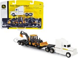 Semi Truck Tractor White Lowboy Trailer John Deere Backhoe Loader 1/64 Diecast Models ERTL TOMY 45353