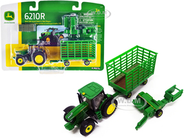 John Deere 6210R Tractor 338 Square Baler Bale Wagon 6 Bales 1/64 Diecast Models ERTL TOMY 45439