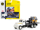 Peterbilt 367 Flatbed Truck White John Deere 320E Skid Steer Loader 1/64 Diecast Models ERTL TOMY 45474