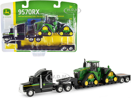 Semi Truck Tractor Lowboy Trailer John Deere 9570RX Scraper Special Tractor 1/64 Diecast Models ERTL TOMY 45559