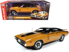 1971 Dodge Charger R/T Hardtop Butterscotch Orange Black Top Black Stripes Muscle Car & Corvette Nationals MCACN 1/18 Diecast Model Car Autoworld AMM1210