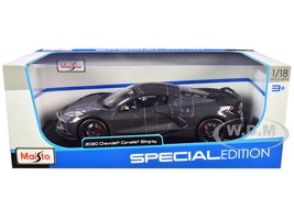 2020 Chevrolet Corvette Stingray C8 Dark Gray Metallic Racing Stripes 1/18 Diecast Model Car Maisto 31447