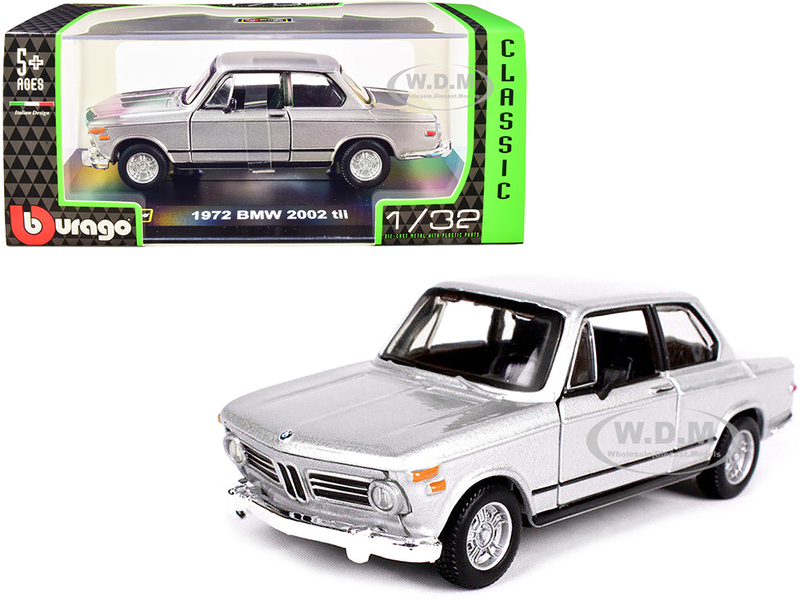 1972 BMW 2002 tii Silver Metallic Classic Series 1/32 Diecast Model Car Bburago 43202