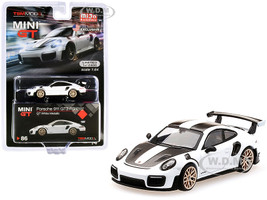 Porsche 911 GT2 RS Weissach Package GT White Metallic Carbon Stripes Limited Edition 2400 pieces Worldwide 1/64 Diecast Model Car True Scale Miniatures MGT00086