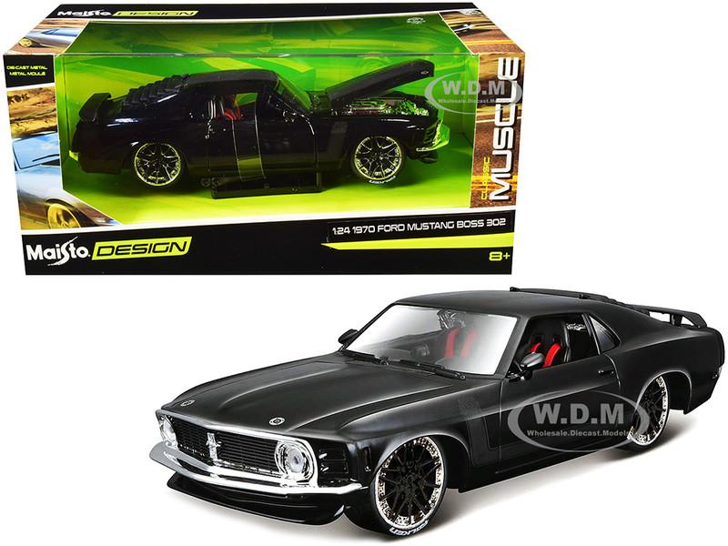 1970 Ford Mustang Boss 302 Black Matt Black Stripes Classic Muscle 1/24 Diecast Model Car Maisto 32535