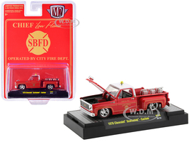 1976 Chevrolet Scottsdale Custom Square Body Fire Truck Red Fire Chief Low Flame SBFD Operated by City Fire Department Limited Edition 8250 pieces Worldwide 1/64 Diecast Model Car M2 Machines 31500-HS06