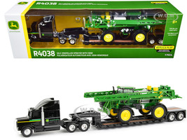 Semi Truck Tractor Lowboy Trailer John Deere R4038 Self-Propelled Sprayer 1/64 Diecast Models ERTL TOMY 45612