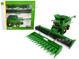 John Deere S780 Tracked Combine 12-Row Corn Head Draper Grain Head Prestige Collection 1/32 Diecast Model ERTL TOMY 45674