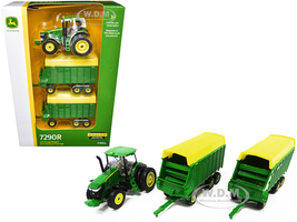 John Deere 7290R Tractor Two Forage Wagons 1/64 Diecast Models ERTL TOMY 45684